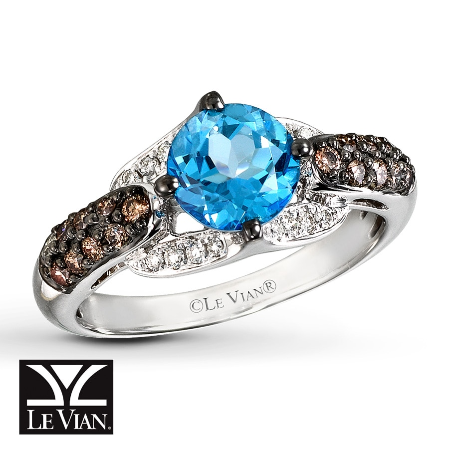Jared Le Vian Blue Topaz Ring 38 ct tw Diamonds 14K Vanilla Gold