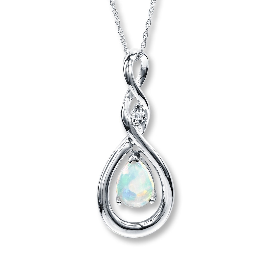 Jared LabCreated Opal Necklace Pearcut with Diamond 10K White Gold
