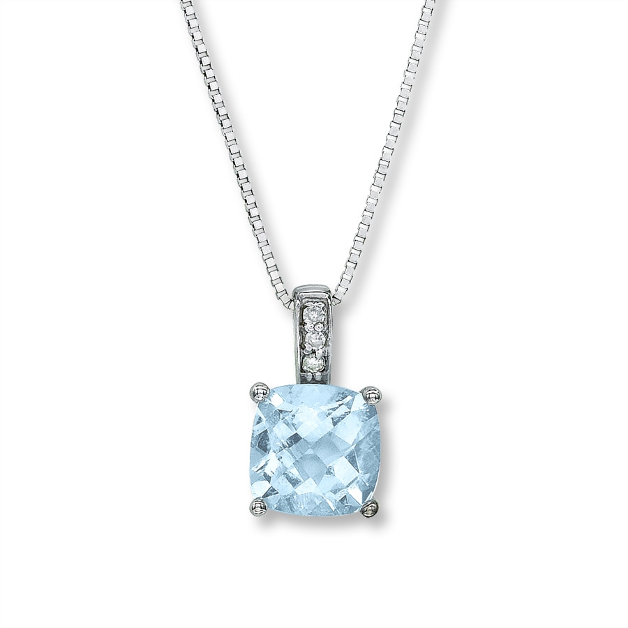 Jared - Aquamarine Necklace Cushion-cut 10K White Gold