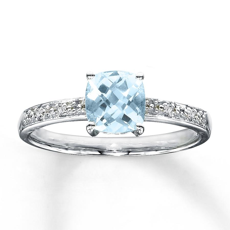 jared aquamarine ring cushion cut with diamonds 10k