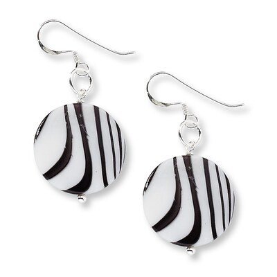 Zebra Print Earrings Mother-of-Pearl Sterling Silver