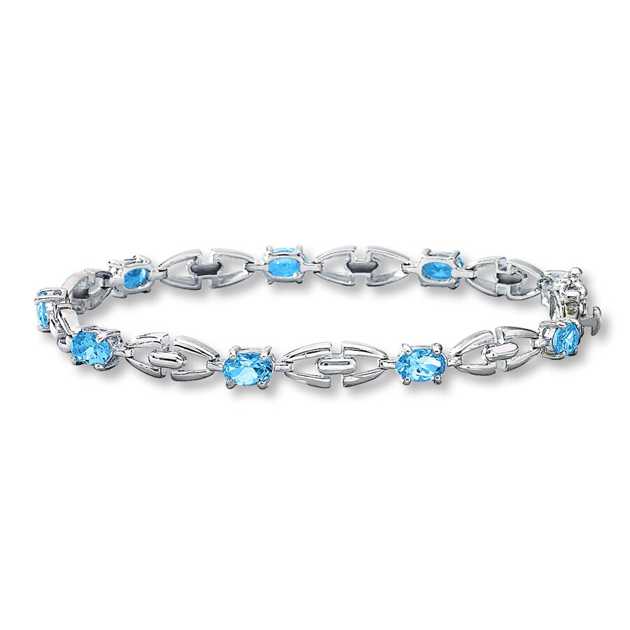 Jared Blue Topaz Bracelet Sterling Silver