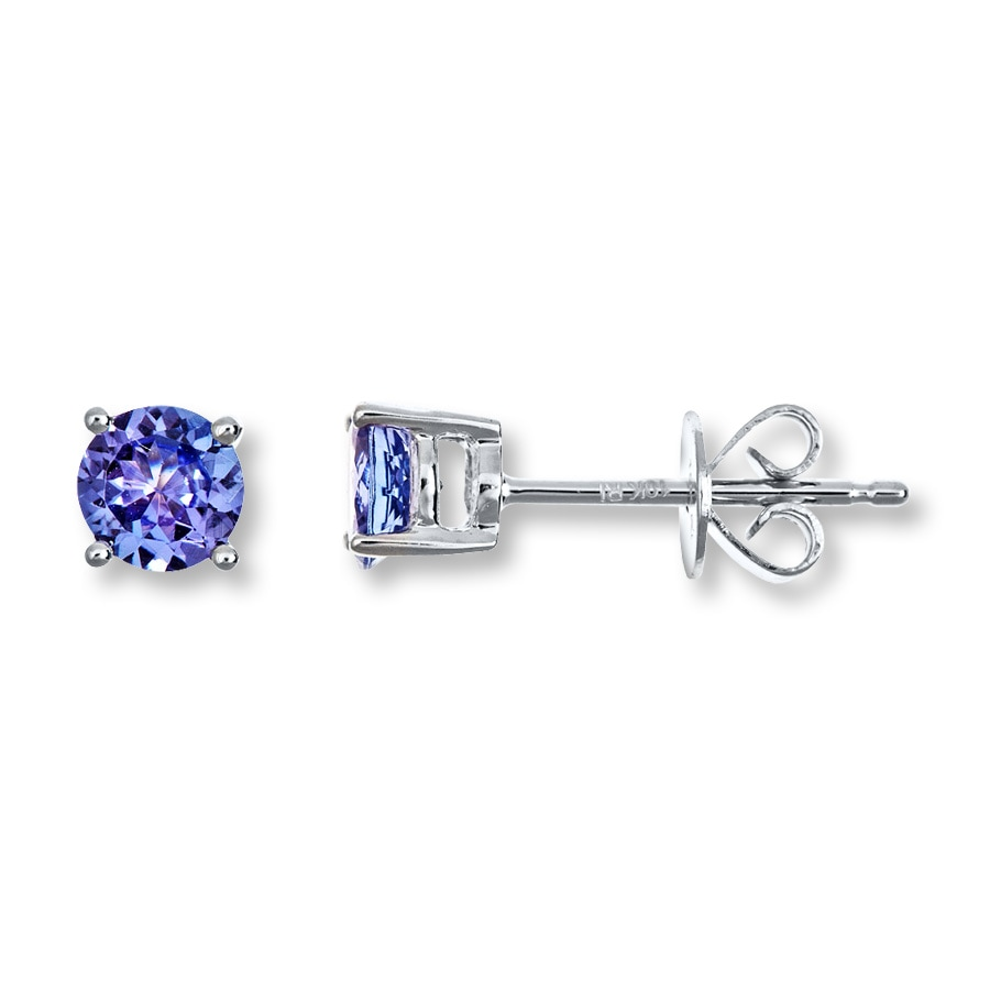 Jared Tanzanite Earrings Roundcut 10K White Gold