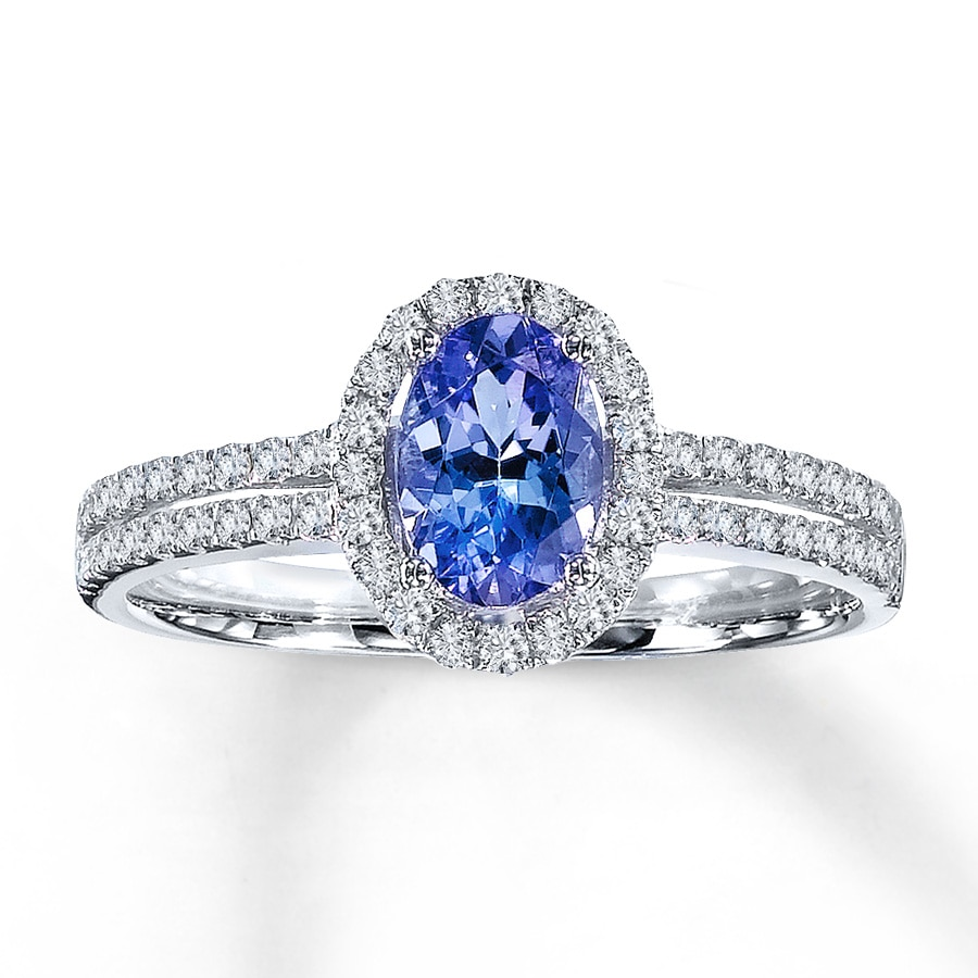 Jared Tanzanite Ring Ovalcut with Diamonds 14K White Gold