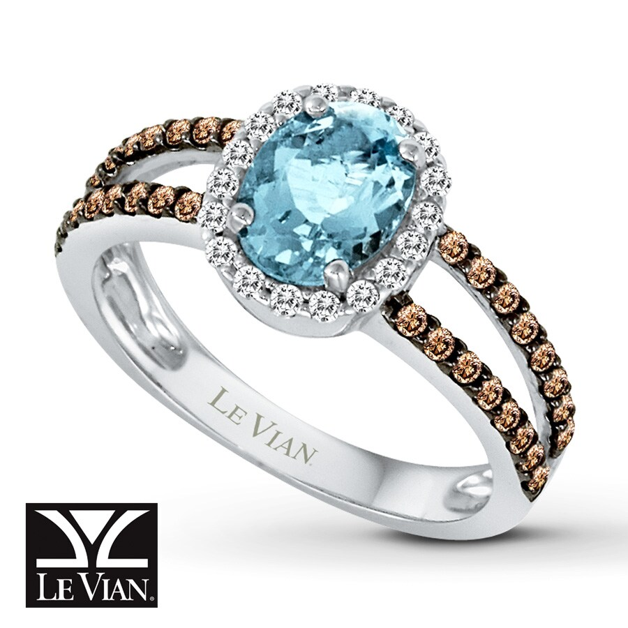 Jared Le Vian Aquamarine Ring Chocolate Diamonds 14K Vanilla Gold