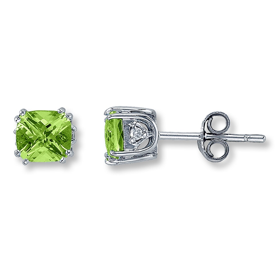 peridot earrings oval yellow gold pe stud