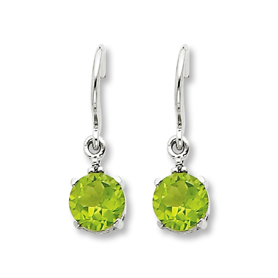 Jared Peridot Dangle Earrings Diamond Accents 14K White Gold