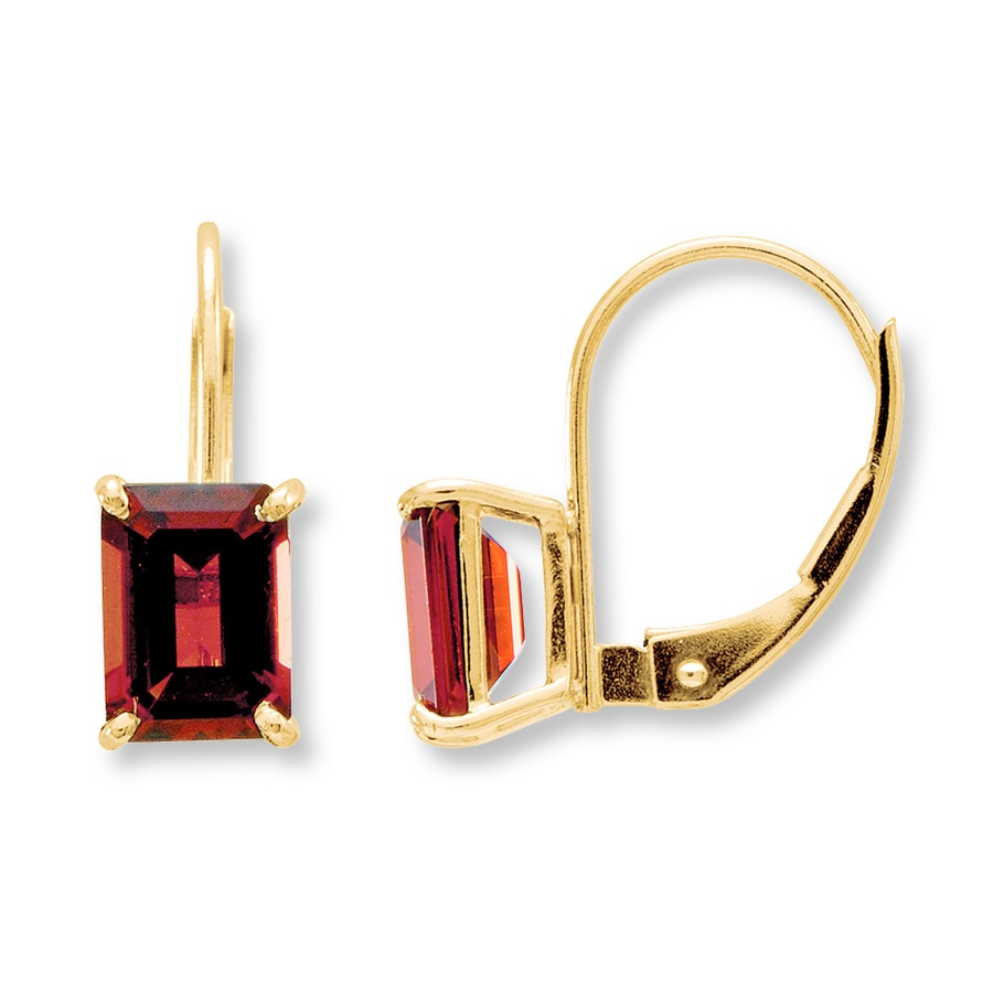 Garnet Earrings 14k Yellow Gold