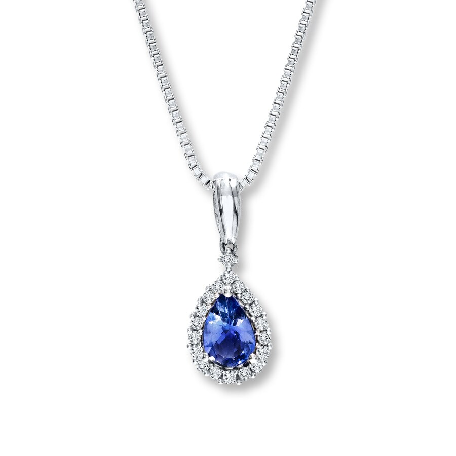 Tanzanite Necklace Tanzanite: Tanzanite Necklace Pear-Shaped With Diamonds