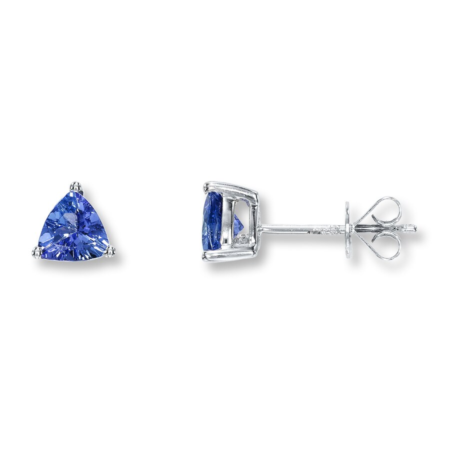 Tanzanite Earrings Triangle Shaped 10k White Gold