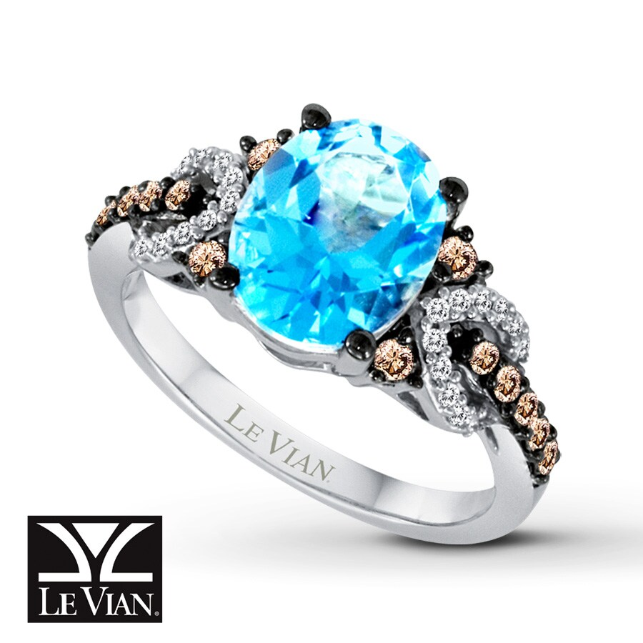 Jared Le Vian Blue Topaz Ring Chocolate Diamonds 14K Vanilla Gold