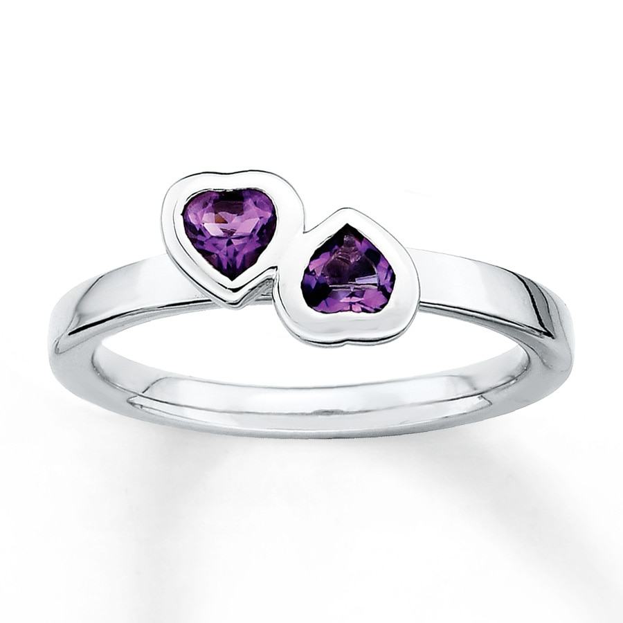 Jared Stackable Heart Ring Amethysts Sterling Silver