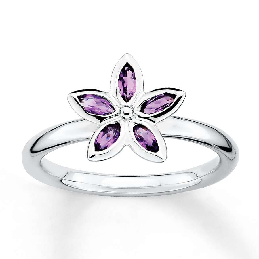 Jared Stackable Flower Ring Amethysts Sterling Silver