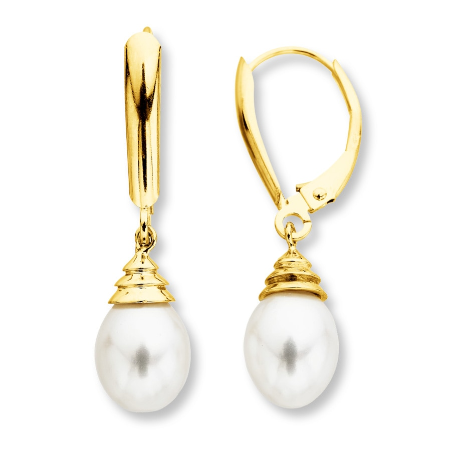 Jared Cultured Pearl Earrings 10K Yellow Gold
