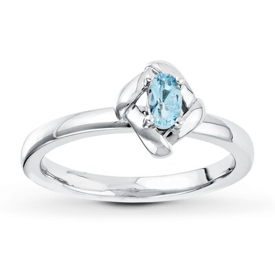 Jared Stackable Ring Aquamarine Sterling Silver- Fashion