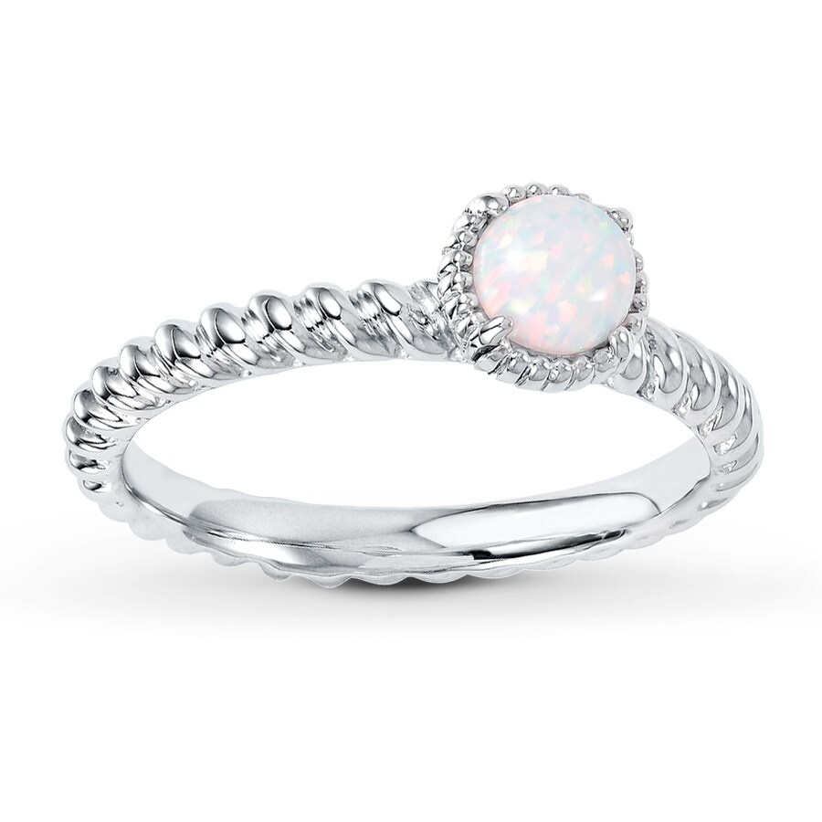 Jared Stackable Ring Lab Created Opal Sterling Silver