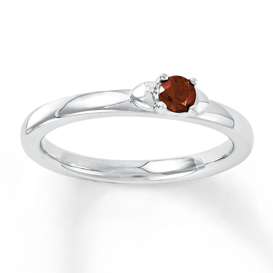 Jared Stackable Heart Ring Garnet Sterling Silver
