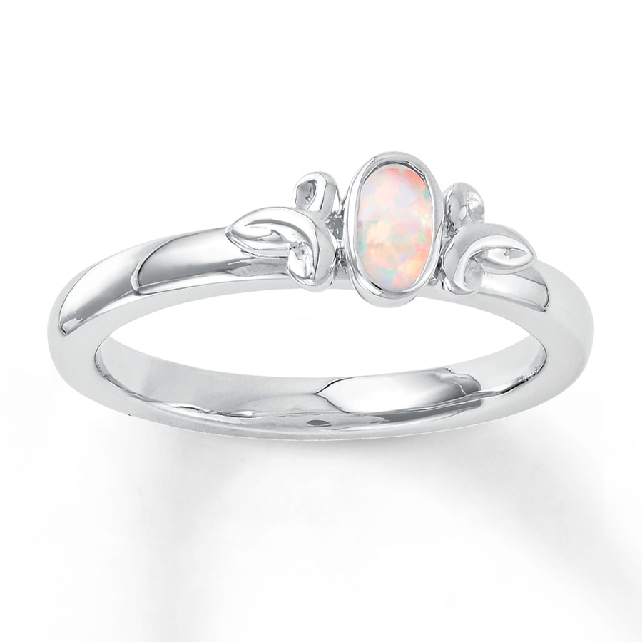 stackable ring lab-created opal sterling silver - 37358960599