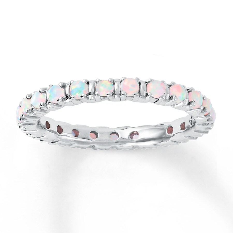 Jared Stackable Ring Lab Created Opals Sterling Silver