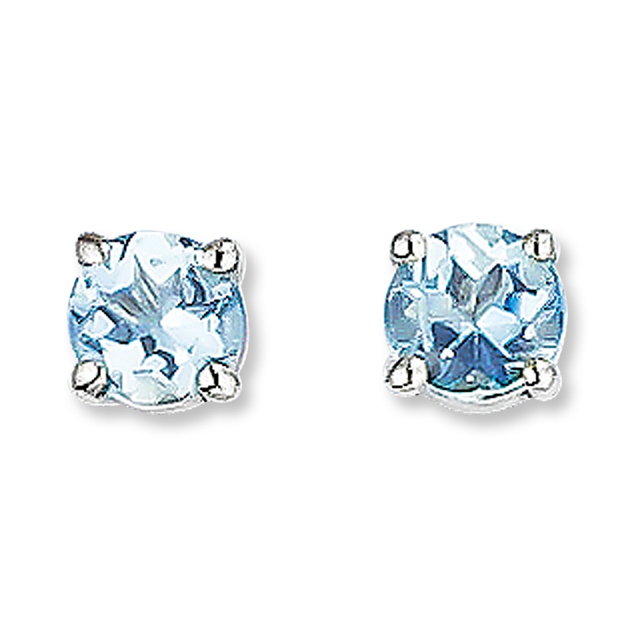 diamond genuine earrings gold detailed aquamarine white htm and image in