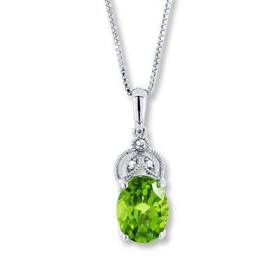 Jared Peridot Necklace White Sapphires Sterling Silver- Fashion