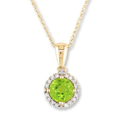 Jared Peridot Necklace 1/15 ct tw Diamonds 10K Yellow Gold- Fashion