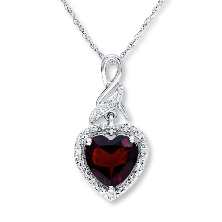 jared jewelry sale garnet necklace 1 20 ct tw diamonds sterling silver 1578