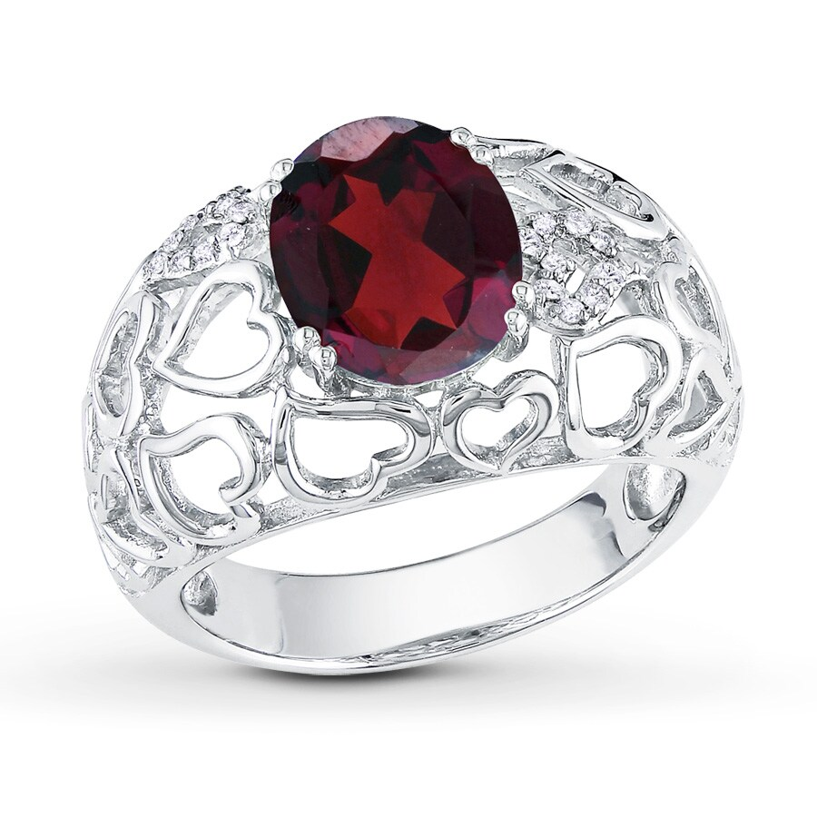 Jared Oval Garnet Ring 1 20 ct tw Diamonds Sterling Silver