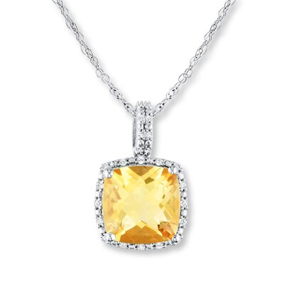 Jared Citrine Necklace 1/10 ct tw Diamonds Sterling Silver- Fashion