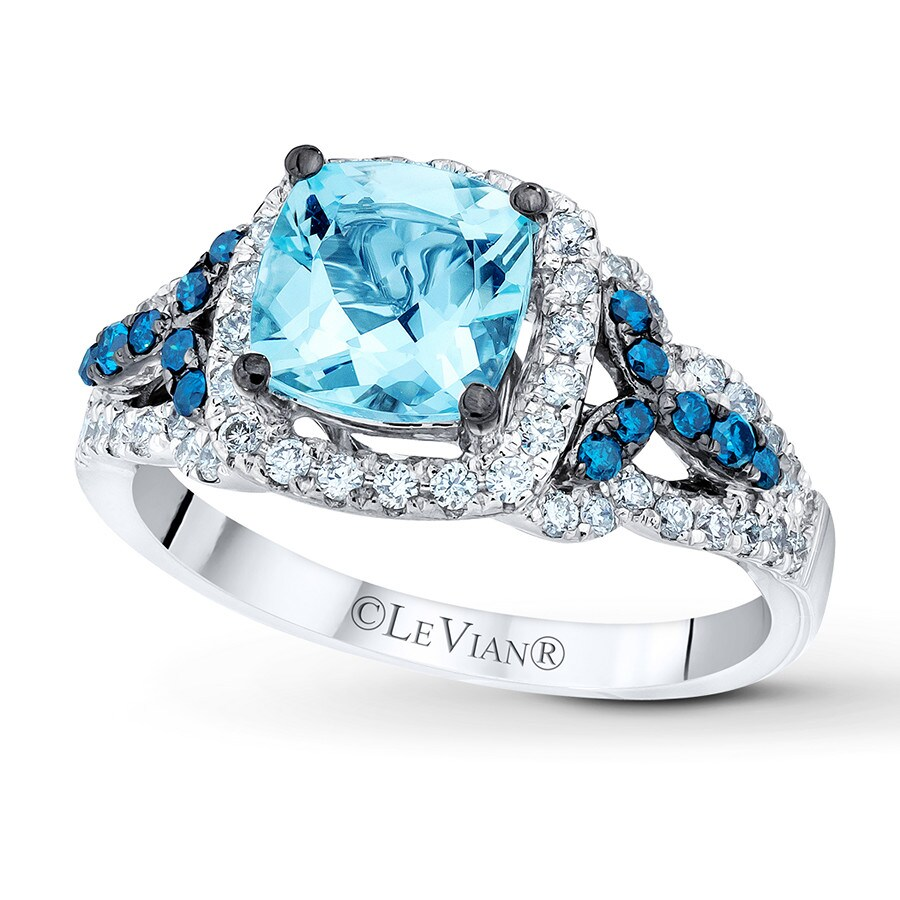 Jared Le Vian Aquamarine Ring 12 ct tw Diamonds 14K Vanilla Gold
