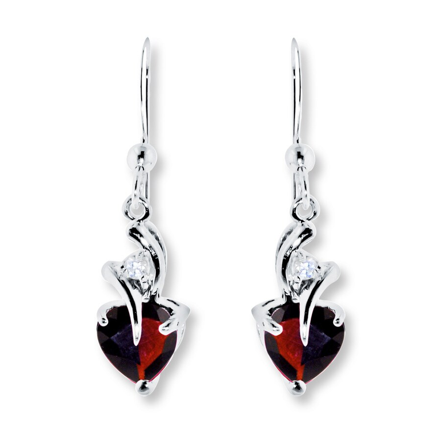 Garnet Earrings Lab Created Shire Sterling Silver Tap To Expand