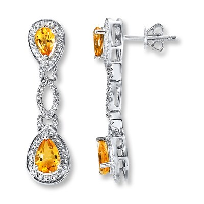 Jared Citrine Earrings Diamond Accents Sterling Silver- Drop