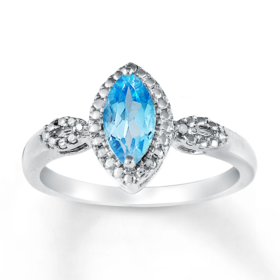Jared Blue Topaz Ring Diamond Accents Sterling Silver