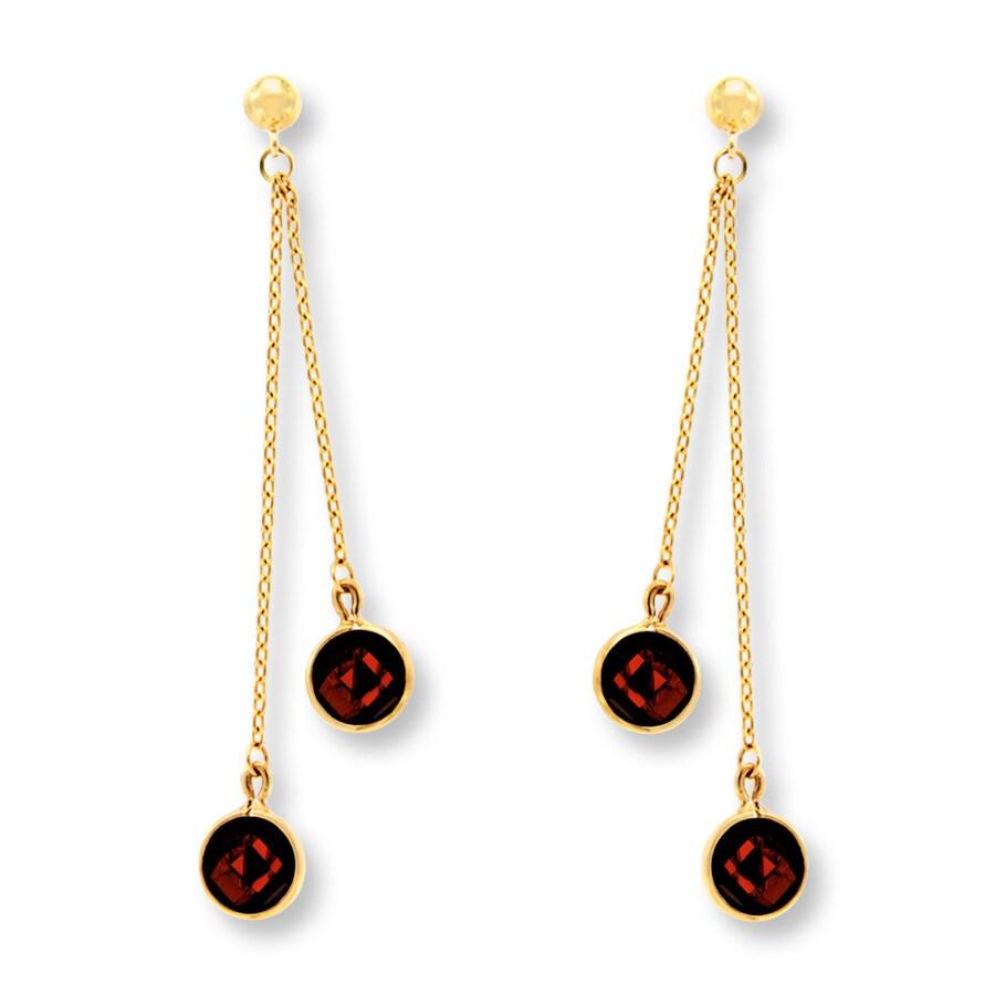 jared garnet dangle earrings 14k yellow gold