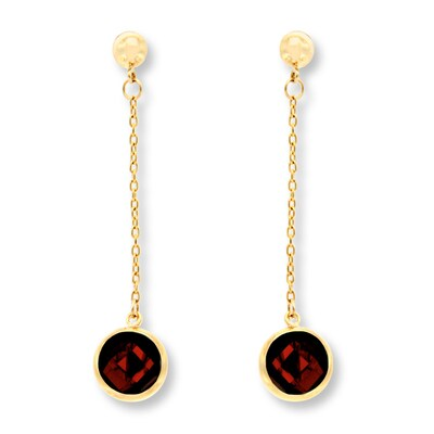 Garnet Drop Earrings 14K Yellow Gold