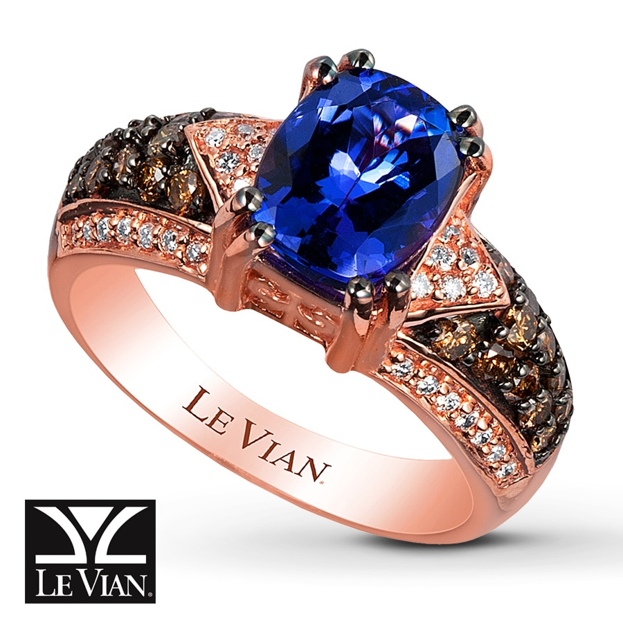 Jared LeVian Tanzanite Ring 12 ct tw Diamonds 14K Strawberry Gold