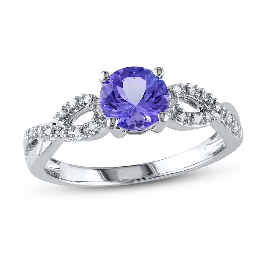 Tanzanite Ring 1/15 ct tw Diamonds 10K White Gold ...