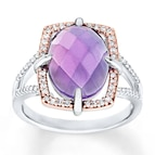 Amethyst Ring 1/5 ct tw Diamonds Sterling Silver/10K Gold