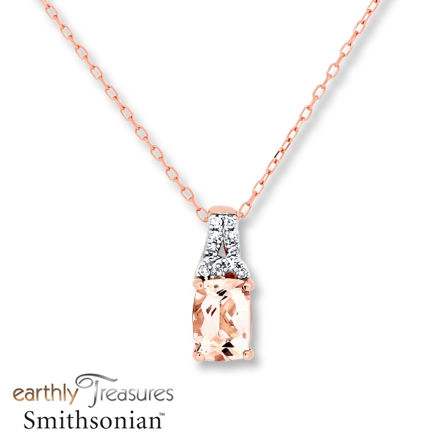 gold gifts morganite necklace rose cushion cut goldsmiths pendant p