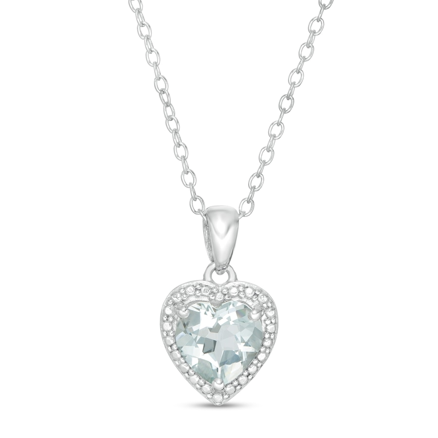 Jared Aquamarine Heart Necklace Sterling Silver