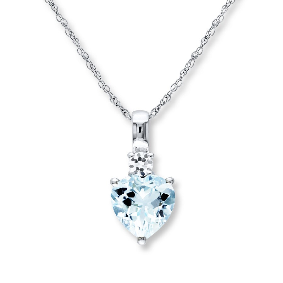 Jared - Aquamarine Heart Necklace Lab-Created Sapphire ...