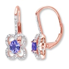 Tanzanite Earrings 1/5 ct tw Diamonds 10K Rose Gold