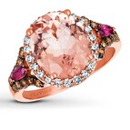 LeVian Morganite Ring Diamonds & Garnet 14K Rose Gold