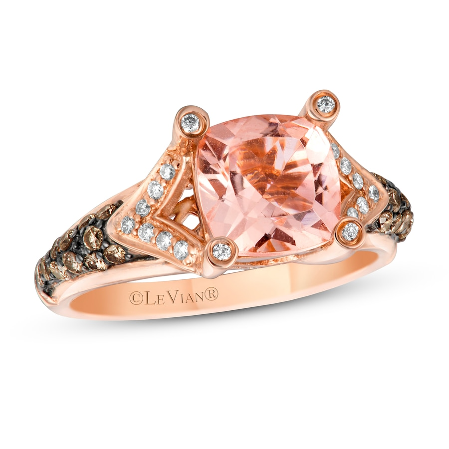 Jared LeVian Morganite Ring 38 ct tw Diamonds 14K Strawberry Gold