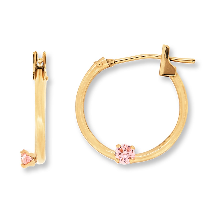 children s hoop earrings jared children s hoop earrings pink cubic zirconia 14k 9705