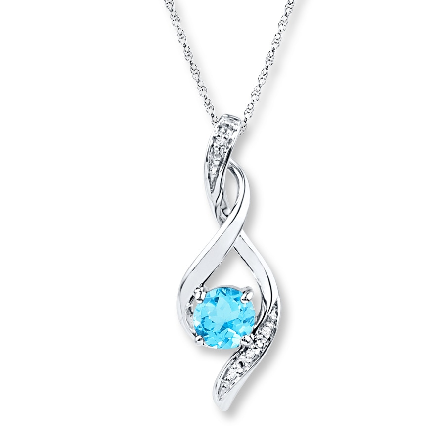 Jared Blue Topaz Necklace Diamond Accents 10k White Gold