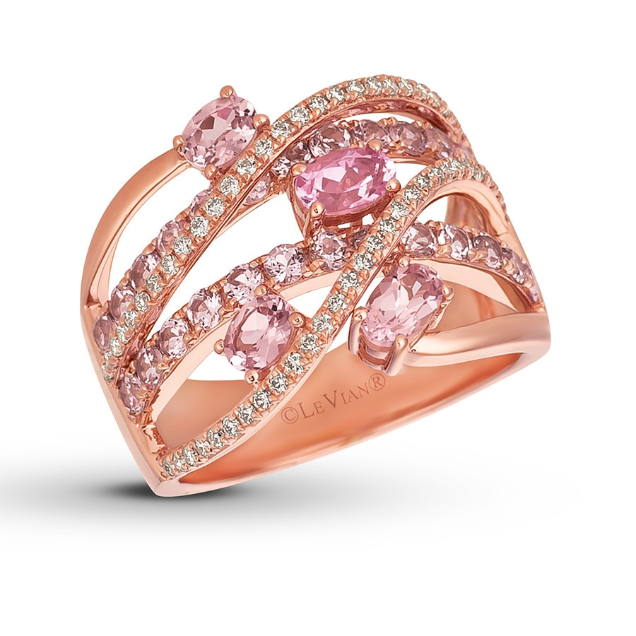 Le Vian Rose Spinel Ring 1/5 ct tw Diamonds 14K Strawberry Gold ...