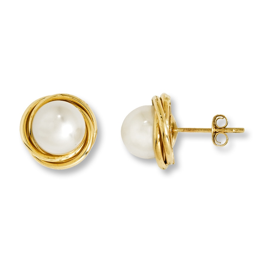 jared cultured pearl earrings 14k yellow gold