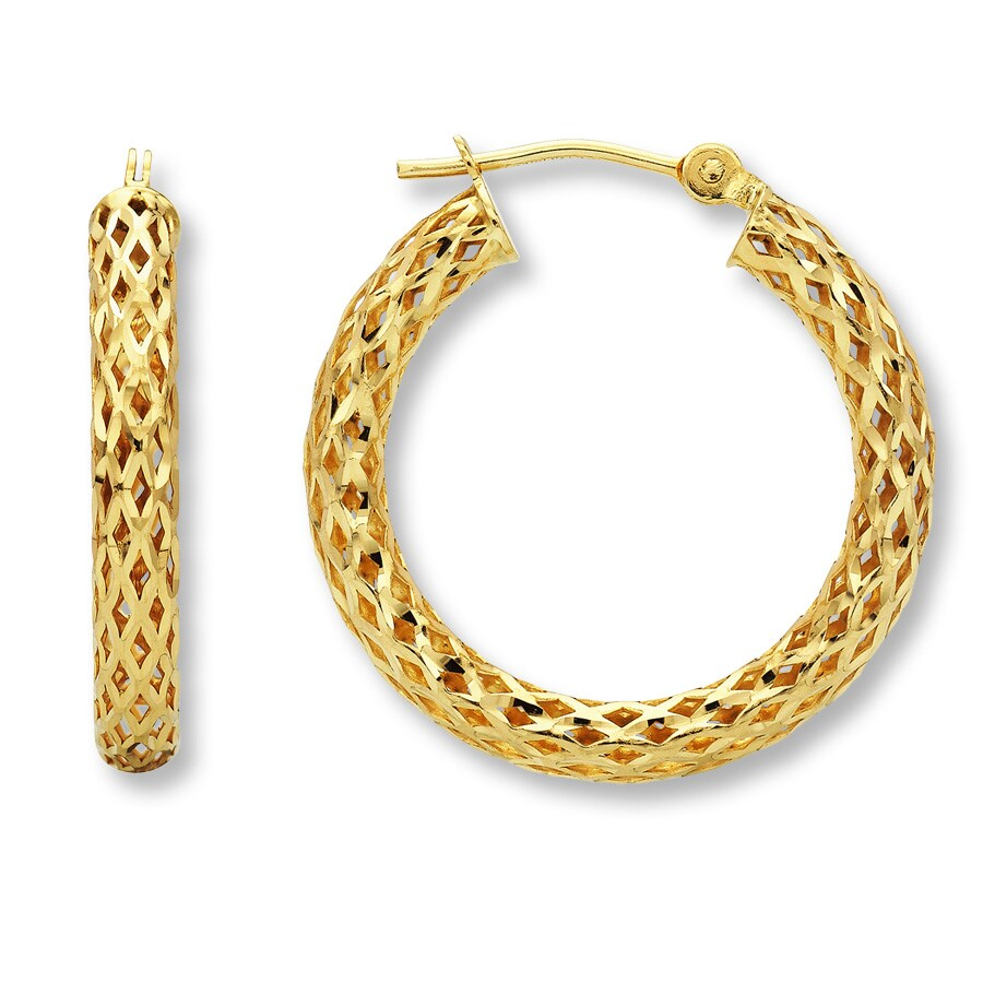 14k Yellow Gold Hoop Earrings Tap To Expand