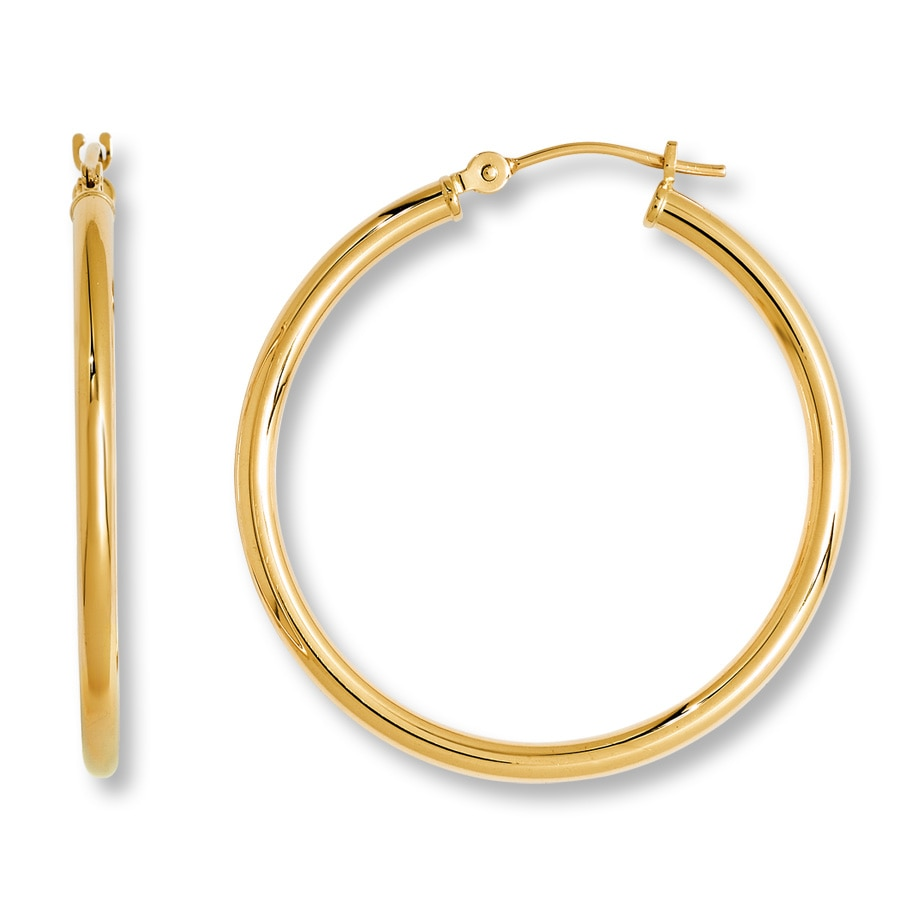 gold hoop earrings jared hoop earrings 14k yellow gold 6954